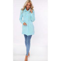 Kardigany damskie: Sweter zapinany na guziki turkusowy MISC005