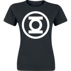 Green Lantern Logo Koszulka damska czarny. Czarne bluzki asymetryczne Green Lantern, s, z nadrukiem, z okrągłym kołnierzem. Za 21,90 zł.