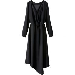 Sukienki: Asymetryczna sukienka midi, kopertowa