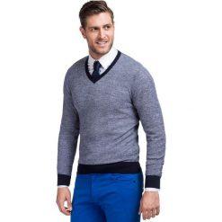 Sweter FABRIZIO Slim SWW000047. Szare swetry klasyczne męskie Giacomo Conti, m, z wełny. Za 259,00 zł.