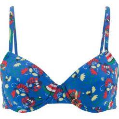 Stroje kąpielowe damskie: Biustonosz bikini na fiszbinach bonprix niebieski z nadrukiem