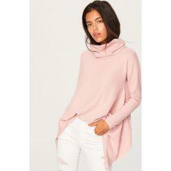 Sweter z szeroką stójką - Różowy. Niebieskie swetry klasyczne damskie marki ARTENGO, z elastanu, ze stójką. Za 79,99 zł.
