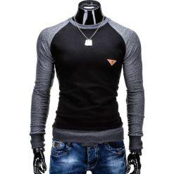 BLUZA MĘSKA BEZ KAPTURA B453 - CZARNA. Czarne bluzy męskie marki Ombre Clothing, m, melanż, z bawełny, bez kaptura. Za 59,00 zł.