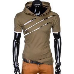 T-SHIRT MĘSKI Z KAPTUREM I NADRUKIEM S1019 - KHAKI. Brązowe t-shirty męskie z nadrukiem marki Ombre Clothing, m, z bawełny, z kapturem. Za 49,00 zł.