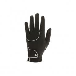 Rękawiczki jeździeckie Pro'Leather. Czarne rękawiczki damskie FOUGANZA, z poliesteru. Za 79,99 zł.