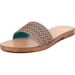 Chodaki damskie: Skórzane klapki w kolorze jasnobrązowo-turkusowym