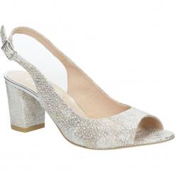 Srebrne sandały skórzane z ozdobnym obcasem Casu CAS003. Szare sandały damskie Casu. Za 219,99 zł.