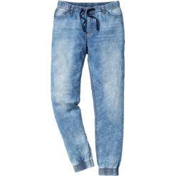 Dżinsy bez zamka w talii Slim Fit Straight bonprix niebieski. Niebieskie jeansy męskie relaxed fit marki bonprix. Za 99,99 zł.