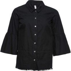 Koszula z plisą guzikową bonprix czarny. Czarne koszule wiązane damskie bonprix. Za 129,99 zł.