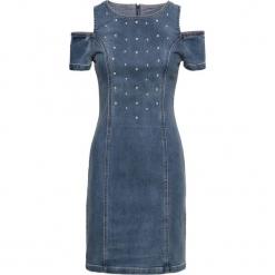 """Sukienka dżinsowa z ćwiekami bonprix niebieski """"stone"""". Niebieskie sukienki na komunię marki bonprix. Za 99,99 zł."""