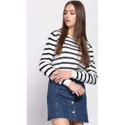 Swetry klasyczne damskie: Biało-Granatowy Sweter Can't Buy Me Love