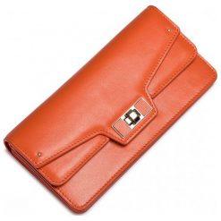 Portfele damskie: Nucelle Damski portfel zapinany na klamrę Pomarańczowy
