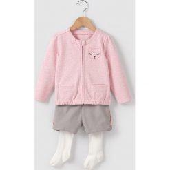 Komplet kamizelka, krótkie spodnie i rajstopy, 1-3 latka. Czerwone kamizelki dziewczęce marki La Redoute Collections, z aplikacjami, z bawełny, na niskim obcasie. Za 84,00 zł.