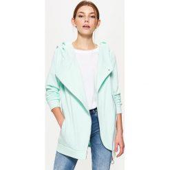 Bluzy damskie: Bluza z asymetrycznym zamkiem – Zielony