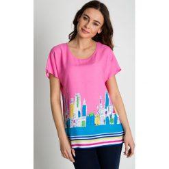 Bluzki asymetryczne: Różowa bluzka we wzory  BIALCON