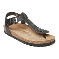 Sandały damskie: Skórzane sandały w kolorze czarnym