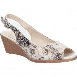 Beżowe sandały na koturnie w kwiaty mozaika Sergio Leone SK811- 10X. Białe sandały damskie marki Casu, w kwiaty, na koturnie. Za 69,99 zł.