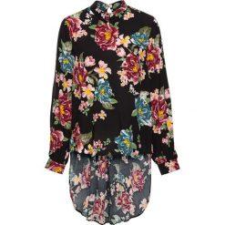 Bluzka z dłuższym tyłem z wiskozy bonprix czarny w kwiaty. Czarne bluzki longsleeves bonprix, w kwiaty, z wiskozy, z klasycznym kołnierzykiem. Za 109,99 zł.