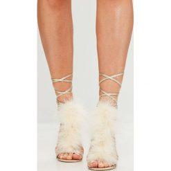 Missguided - Sandały. Szare sandały damskie marki Missguided, z materiału, na obcasie. W wyprzedaży za 69,90 zł.