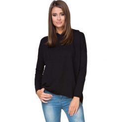 Bluzy rozpinane damskie: Czarna Bluza Sportowa Nierozpinana z Kapturem