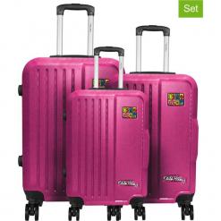 Zestaw walizek w kolorze różowym - 3 szt. Czerwone walizki Teddy Bear, z materiału. W wyprzedaży za 649,95 zł.