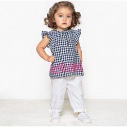 Komplet bluzka i spodnie 1 miesiąc - 3 lata. Niebieskie bluzki dziewczęce marki La Redoute Collections, z haftami, z bawełny, z kokardą, bez rękawów. Za 102,86 zł.