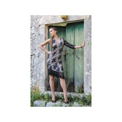 Koronkowa sukienka asymetryczna beż. Zielone sukienki asymetryczne marki Soleil, na co dzień, xs, z dekoltem w łódkę. Za 390,00 zł.
