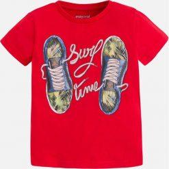 Mayoral - T-shirt dziecięcy 92-134 cm. Czerwone t-shirty chłopięce z nadrukiem Mayoral, z bawełny, z okrągłym kołnierzem. Za 59,90 zł.