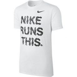 Nike Koszulka męska Run This Tee biała r. M (778345-100). Białe koszulki sportowe męskie Nike, m. Za 119,00 zł.