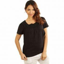 Bluzki damskie: Lniana koszulka w kolorze czarnym