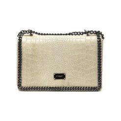 Torebki klasyczne damskie: Skórzana torebka w kolorze beżowym – (S)30 x (W)20 x (G)8 cm
