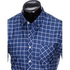 KOSZULA MĘSKA W KRATĘ Z DŁUGIM RĘKAWEM K417 - GRANATOWA/BIAŁA. Brązowe koszule męskie na spinki marki Ombre Clothing, m, z aplikacjami, z kontrastowym kołnierzykiem, z długim rękawem. Za 49,00 zł.