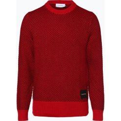 Calvin Klein - Sweter męski, czerwony. Pomarańczowe swetry klasyczne męskie marki Calvin Klein, l, z bawełny, z okrągłym kołnierzem. Za 599,95 zł.