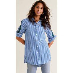 Mango - Koszula Banda. Szare koszule damskie marki Mango, l, z aplikacjami, z bawełny, klasyczne, z klasycznym kołnierzykiem, z długim rękawem. Za 139,90 zł.