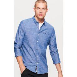 Gładka koszula SLIM FIT - Niebieski. Niebieskie koszule męskie slim marki Cropp, l. Za 79,99 zł.
