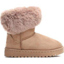 Beżowe Śniegowce Winter Fun. Brązowe kozaki dziewczęce marki Born2be, z materiału, z okrągłym noskiem, na platformie. Za 49,99 zł.