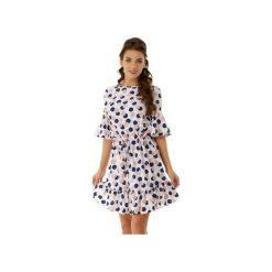 Luźna sukienka z wiązaniem i falbaną biała ED020-2. Czarne sukienki na komunię marki Ella dora, xl, w koronkowe wzory, z koronki, z falbankami, dopasowane. Za 219,00 zł.