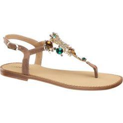 Sandały damskie Catwalk szarobrązowe. Brązowe rzymianki damskie Catwalk, z aplikacjami, z materiału. Za 119,90 zł.