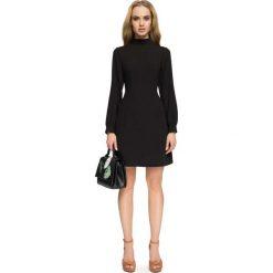 Sukienki: Czarna Wizytowa Sukienka z Tiulowymi Wstawkami