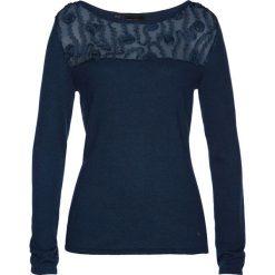Swetry klasyczne damskie: Sweter z koronką i kaszmirem bonprix ciemnoniebieski