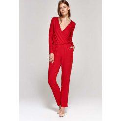 Odzież damska: Czerwony Kombinezon z Kopertowym Dekoltem