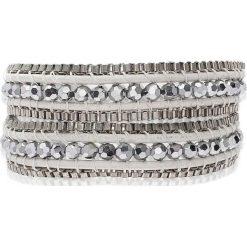 Bransoletki damskie na nogę: Skórzana bransoletka w kolorze biało-srebrnym
