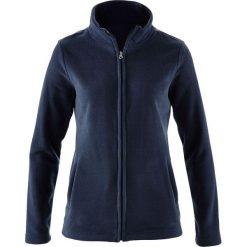 Bluza rozpinana z polaru z wpuszczanymi kieszeniami bonprix ciemnoniebieski. Niebieskie bluzy sportowe damskie marki bonprix, z nadrukiem. Za 44,99 zł.