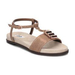 Sandały damskie: Skórzane sandały w kolorze jasnobrązowozłotym