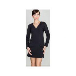 Sukienka K373 Czarny. Czarne sukienki na komunię Lenitif, do pracy, xl, biznesowe, z dekoltem w serek, proste. Za 149,00 zł.