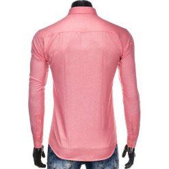 KOSZULA MĘSKA Z DŁUGIM RĘKAWEM K398 - KORALOWA. Brązowe koszule męskie na spinki marki Ombre Clothing, m, z aplikacjami, z kontrastowym kołnierzykiem, z długim rękawem. Za 39,00 zł.