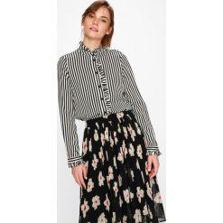 Vero Moda - Koszula Lizette. Szare koszule wiązane damskie Vero Moda, l, w paski, z tkaniny, casualowe, ze stójką, z długim rękawem. W wyprzedaży za 79,90 zł.