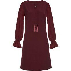 Sukienka z rękawami szyfonowymi bonprix czerwony klonowy. Czerwone sukienki z falbanami marki bonprix, z szyfonu. Za 59,99 zł.