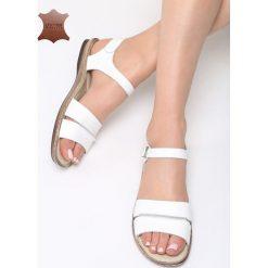 Białe Skórzane Sandały Almond. Białe sandały damskie marki Born2be, z materiału, na obcasie. Za 99,99 zł.