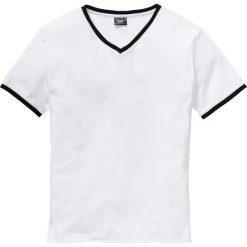 T-shirty męskie: T-shirt z dekoltem w serek Slim Fit bonprix biały
